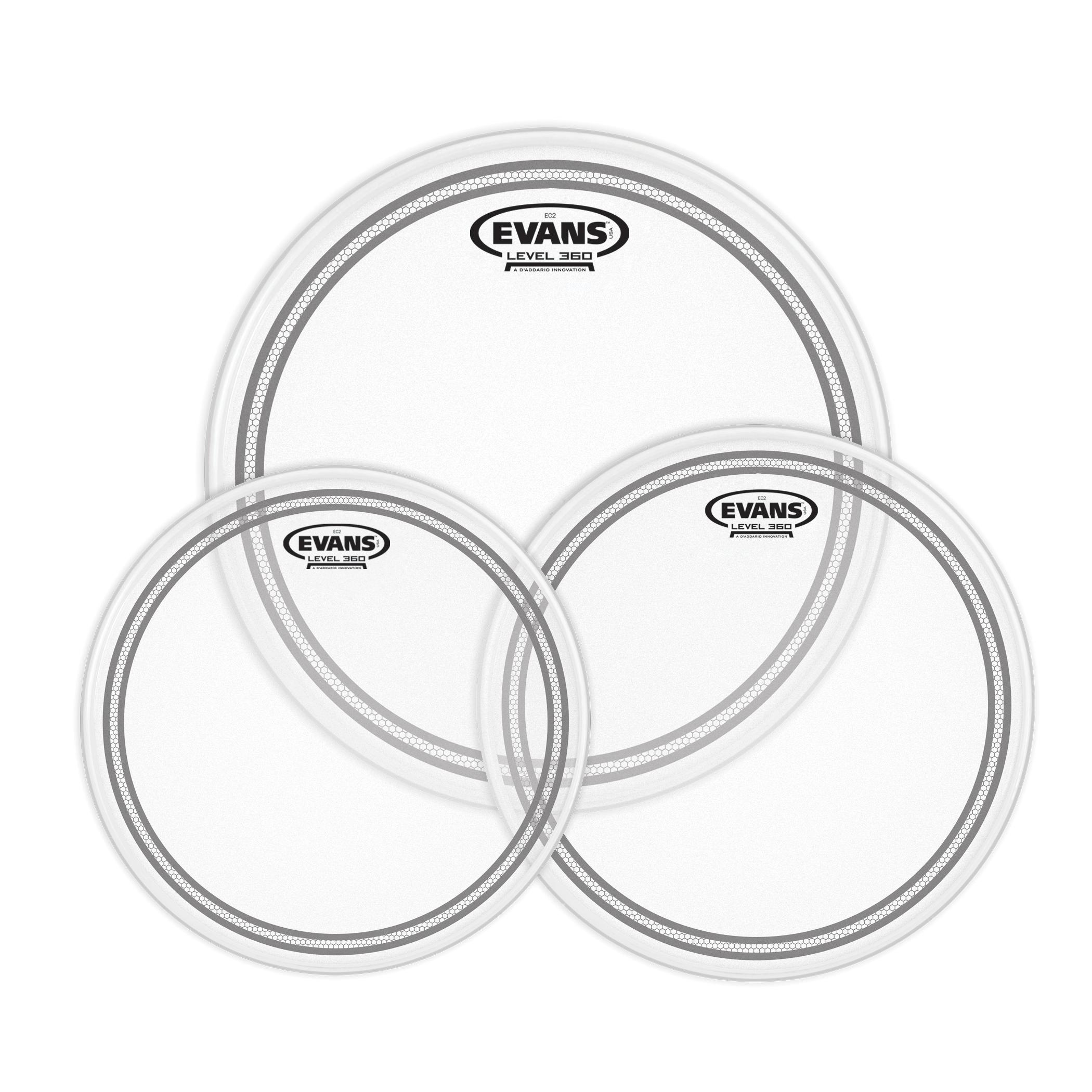 Evans Level 360 EC2 Clear Drum Heads Standard Tom Pack – 12″, 13″, 16″ 1