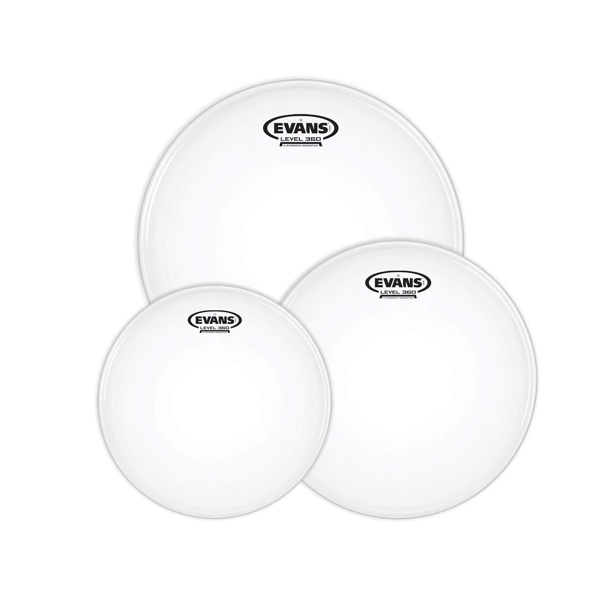 Evans Level 360 G1 Coated Drum Heads Standard Tom Pack – 12″, 13″, 16″ 1