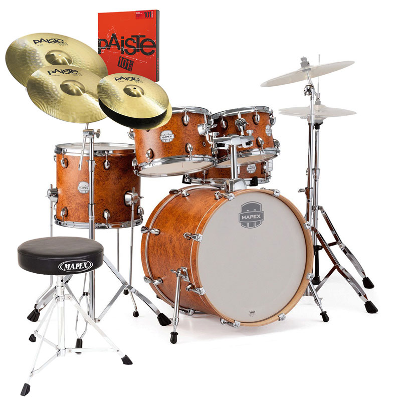 "Mapex Storm 22"" Kit Camphor Wood Grain & Hardware (+ Throne & Cymbal Pack Option)"