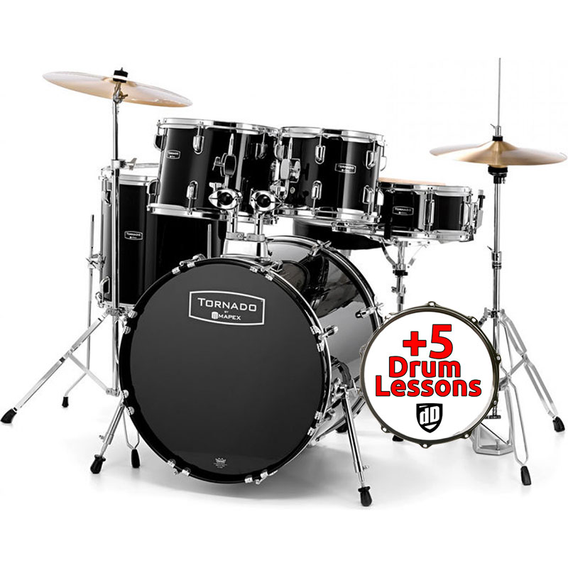 "Mapex Tornado Kit (20"" Kick) Black (+Lessons Option)"